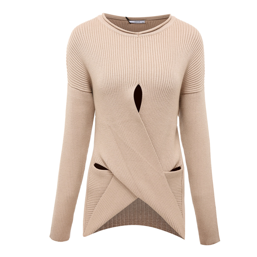 Scrapbook Scribblers Cut-Out Knit Jumper in Latte