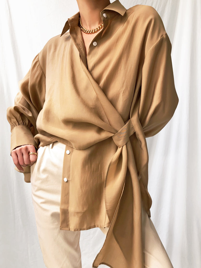 Not Shattered Tencel Drape Shirt in Tan