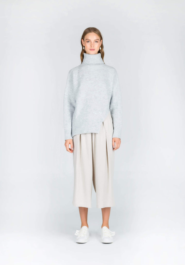 Morning Light Knit Side Cut-Out Jumper in Light Grey