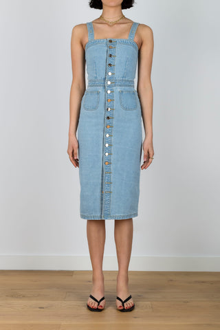 Aim To Promote Denim Buttoned Dress in Light Blue