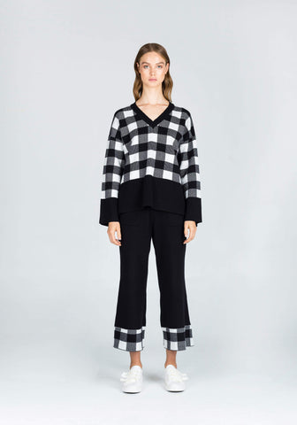Objective Manner Knit Checkered Relaxed Top in Black/White