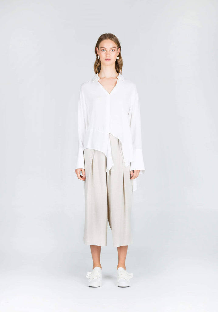 Slower Rhythms Contrast Chiffon Shirt in White