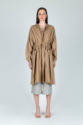 Brushing Aside Linen Midi Jacket in Brown