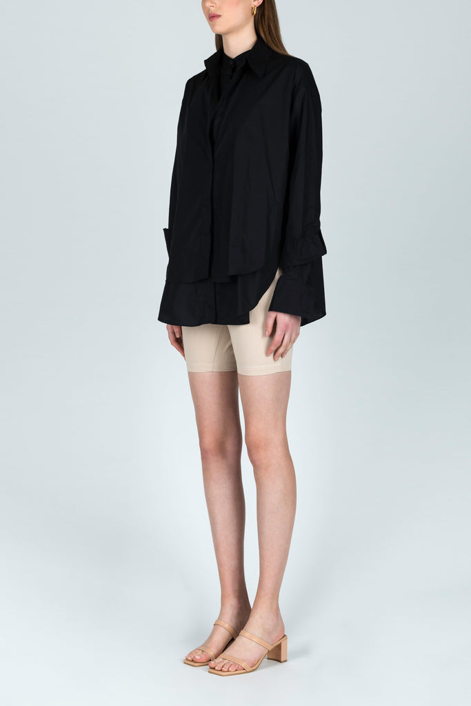 Continuous Conversations Double Layered Shirt in Black