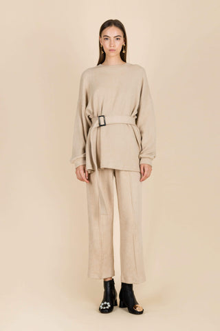 Falsely Accused Textured Elastic Trousers in Cream