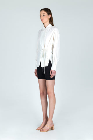 Fierce Introduction Tencel Tie-up Shirt in Off-White