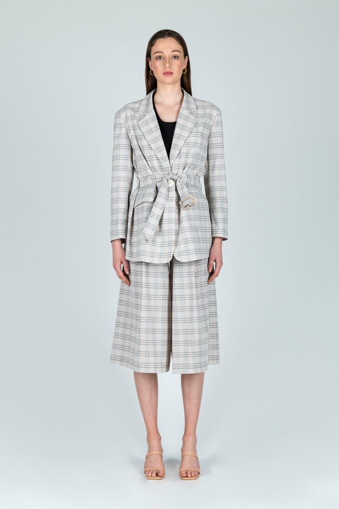Literary Lady Linen Checkered Belted Blazer in Brown