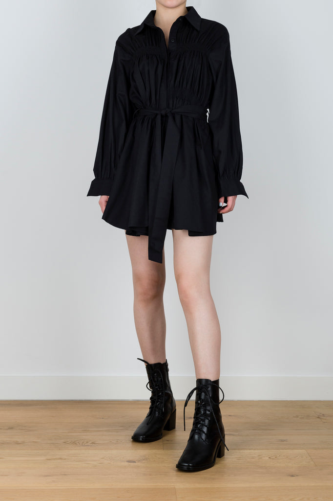 Northern Hemisphere Belted Shirt Dress in Black