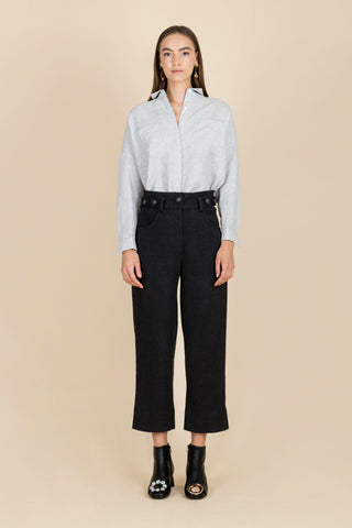 Rhythm As Melody High-Waisted Ribbed Trousers in Charcoal