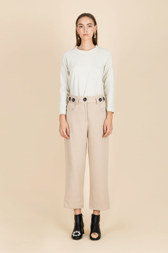 Rhythm As Melody High-Waisted Ribbed Trousers in Beige