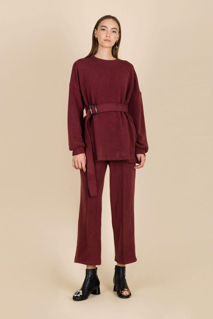 Silent Simplicity Belt Jumper in Burgundy
