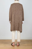 Total Immersion Contrast Lapel Knit Midi Cardigan in Brown Mixed/Cream