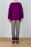 Treasure From The Sea Cable Knit Jumper w/ Pom Poms in Magenta