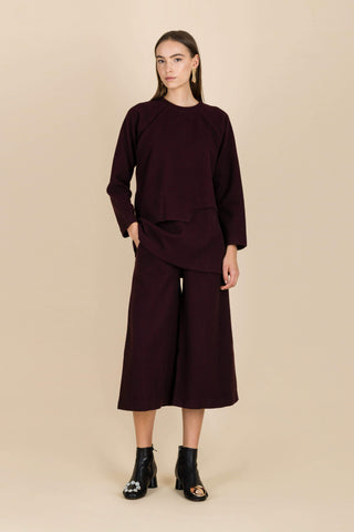 Waters Flowing Wide-Leg Trousers in Burgundy