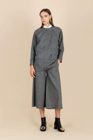 Waters Flowing Wide-Leg Trousers in Dark Grey