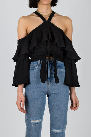 Weave A Day Cold-shouldered Top in Black