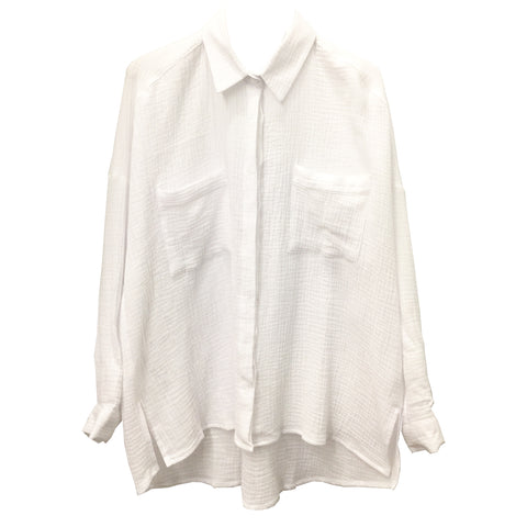 Why Wait cotton boyfriend shirt in White Crepe