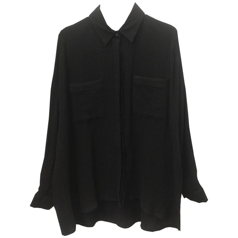 Why Wait cotton boyfriend shirt in Black Crepe