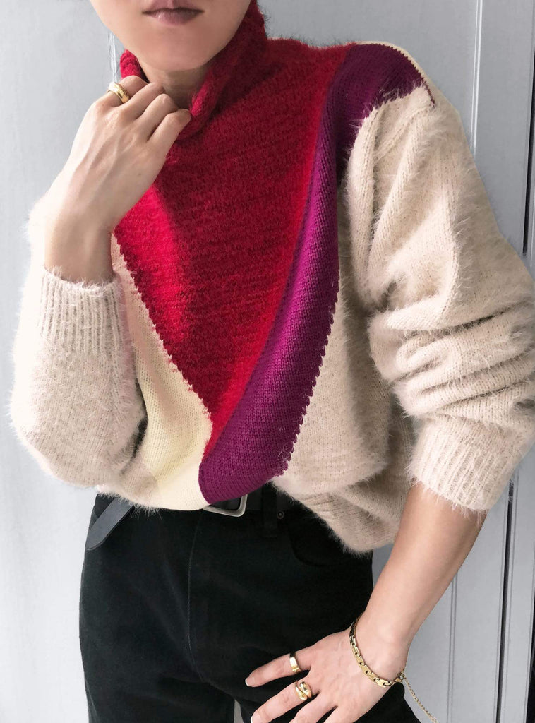 Sacred Stories Colour-block Knit Jumper in Red/Magenta/Brown