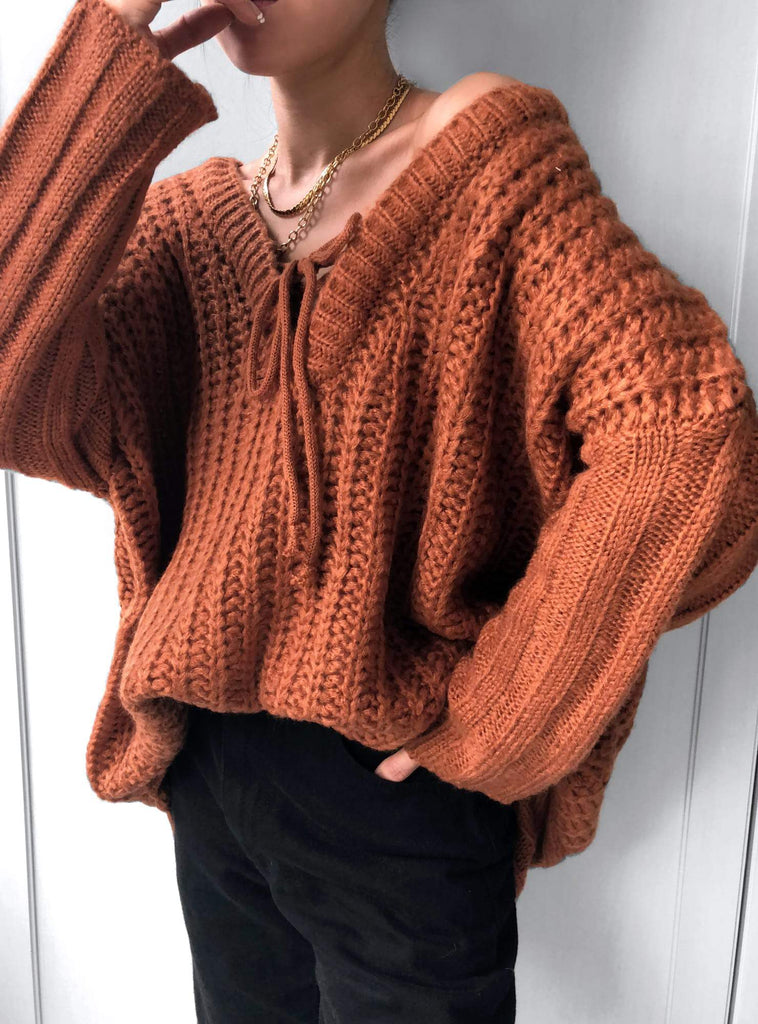 Write About It Lace-up Neckline Knit Jumper in Copper