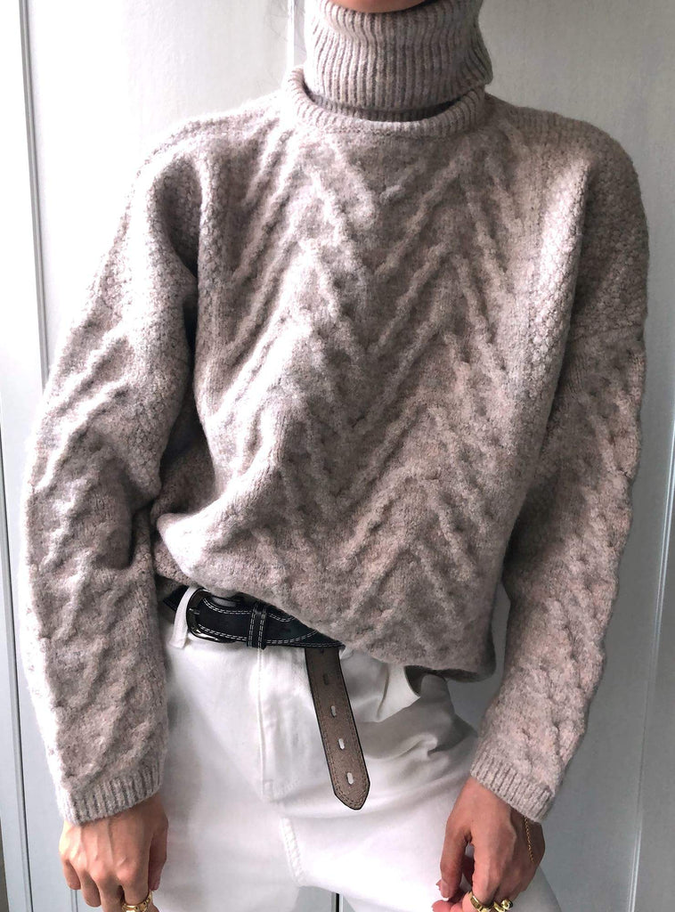 Mistaken Identity Cable Knit Skivvy Jumper in Brown