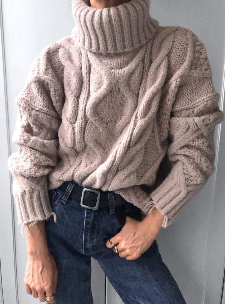 Vanishing Wind Cable Knit Skivvy Jumper w/ Fray Hem