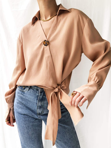 New Day Coming Wrap Top in Rose Beige