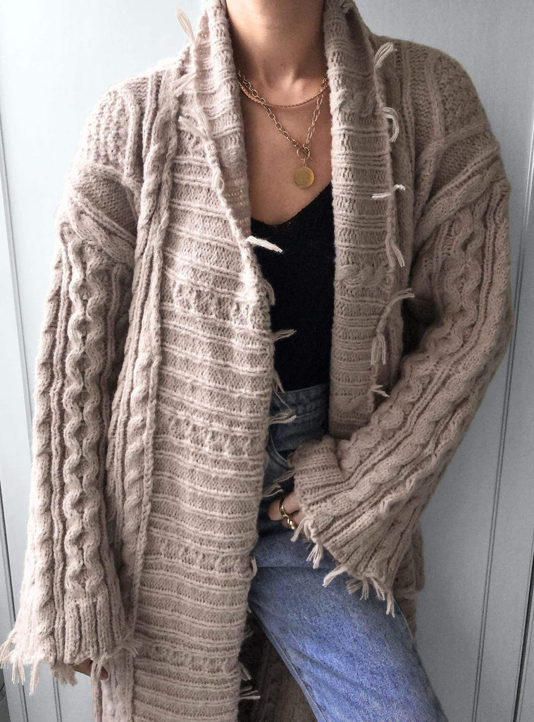 The Obsessions Cable Knit Maxi Cardigan in Soft Brown
