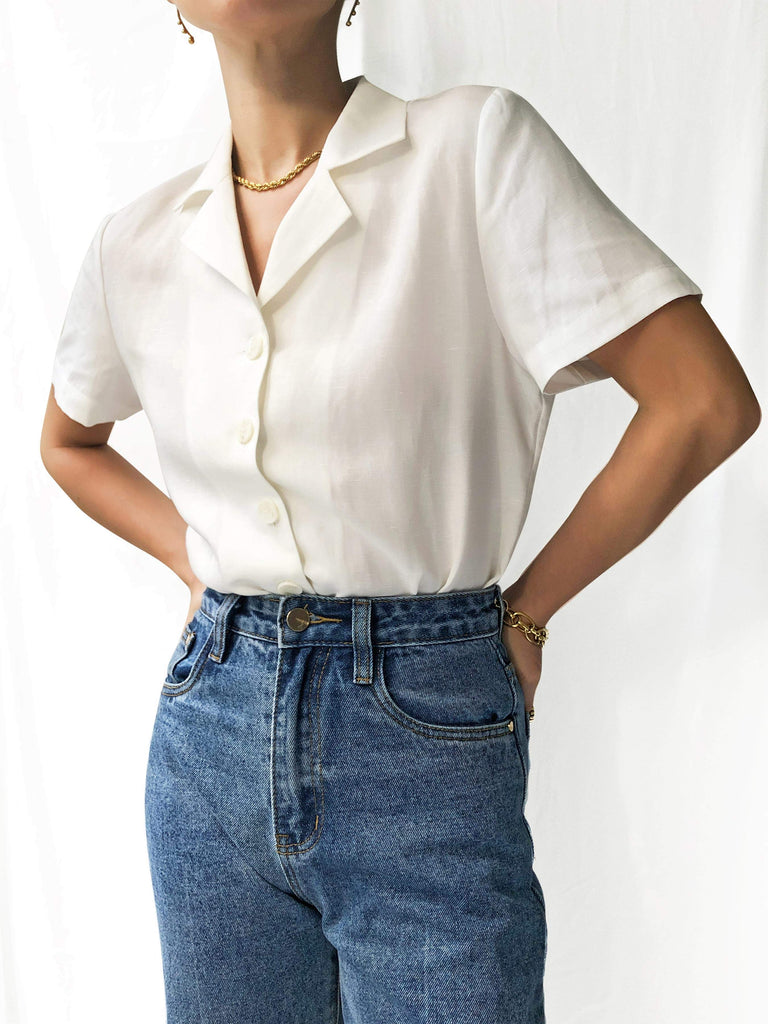 Blurred Lines Vintage Silk Linen Shirt in Off-White
