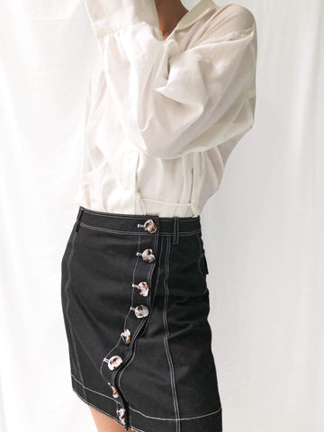 Coming Home Contrast Stitching Denim Skirt in Black