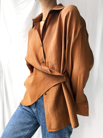 Extends Forward Asymmetrical Wrap Shirt in Chocolate