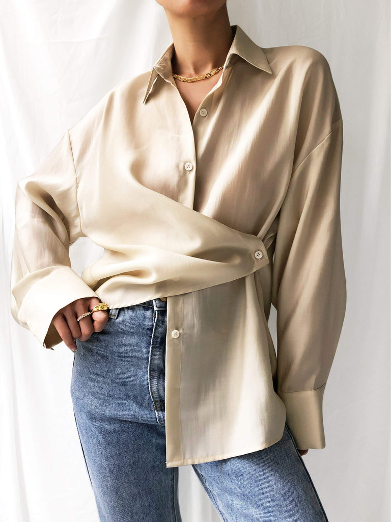 Extends Forward Asymmetrical Wrap Shirt in Cream