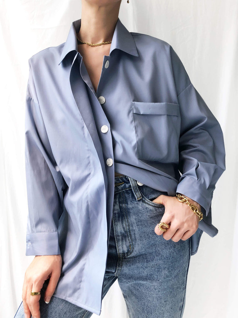 Lucidity Tencel Boyfriend Shirt in Steel Blue
