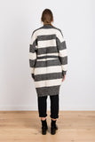 Dare You To Move Knit Striped Cardigan in Beige/Charcoal