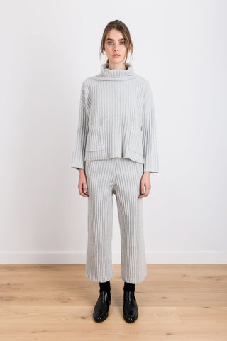 My Word For It Knit Oversized Ribbed Skivvy Jumper in Light Grey