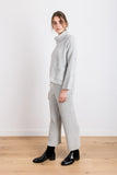What They Wrote Knit Ribbed Cropped Culottes in Light Grey
