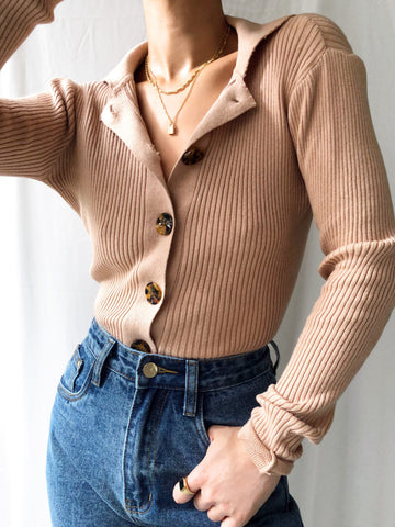 Broken Silence Knit Polo Top in Dusty Nude
