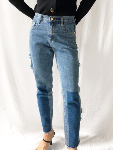 Find A Glimpse Contrast Skinny Leg Denim Jeans in Blue