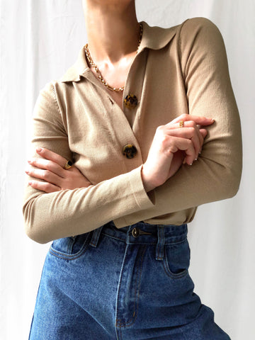 Qualities Of The Year Knit Cardigan Top in Mocha Brown