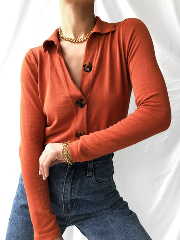 Qualities Of The Year Knit Cardigan Top in Sienna Orange