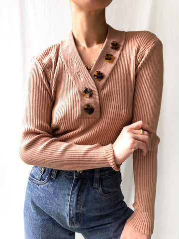 Steadfastness Ribbed V-Neck Knit Top in Clay