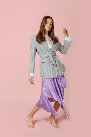 Literary Lady Linen Checkered Belted Blazer in Grey