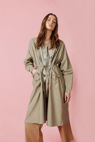 Brushing Aside Linen Midi Jacket in Green