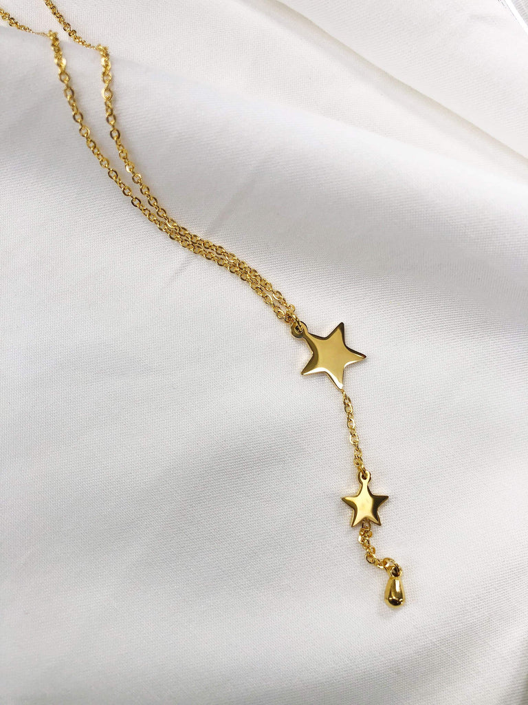 Infinity Fine Chain w/ Drop Star Charms Necklace