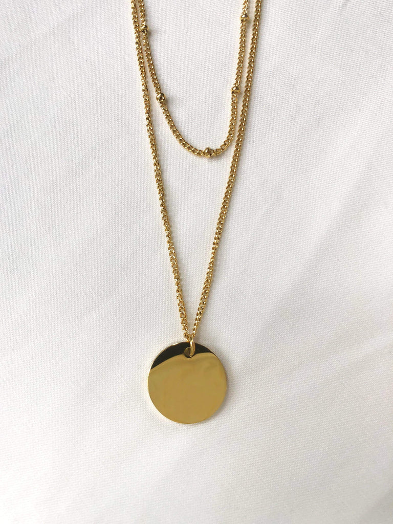 Midnight Double Chain w/ Circular Pendant Necklace