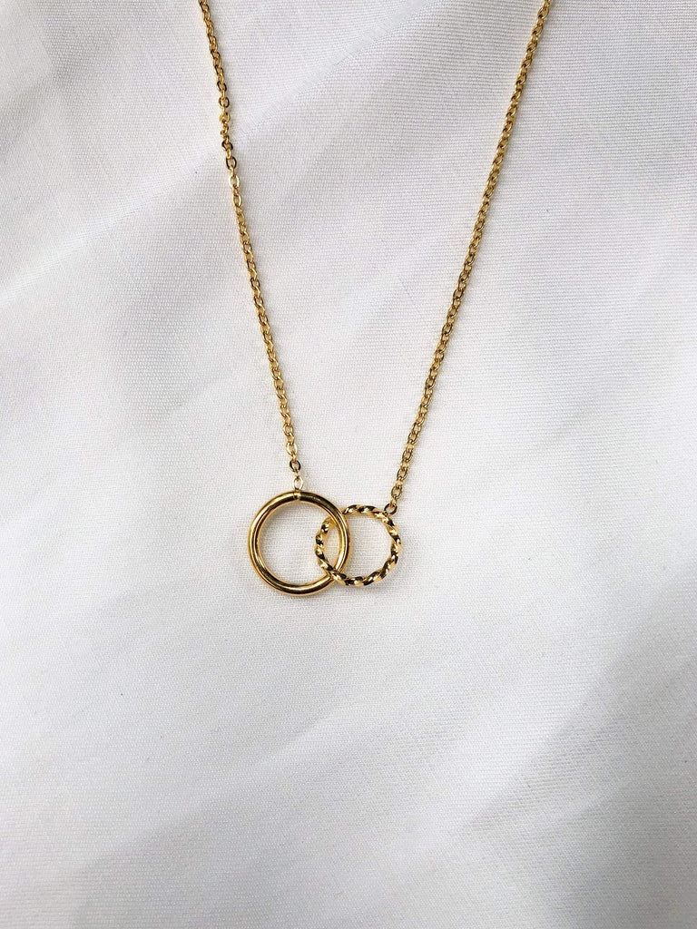 Music Fine Chain w/ Circular Link Charms Necklace
