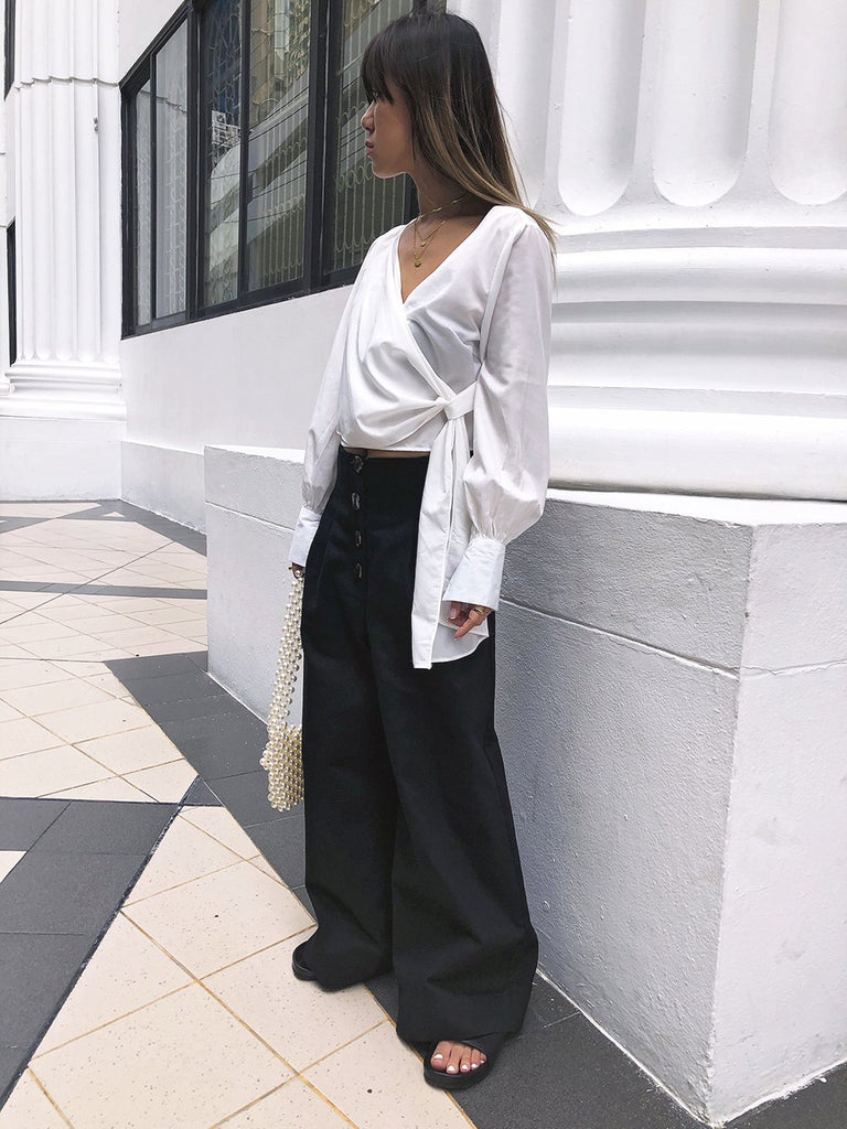 Mature Enough High Waisted Wide Leg Trousers in Black