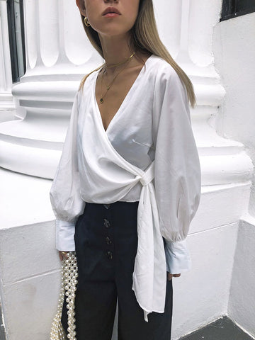 Feeble Praise Draped Top in White