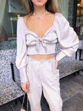 What To Do Next Buttoned Sleeve Crop Top in Beige