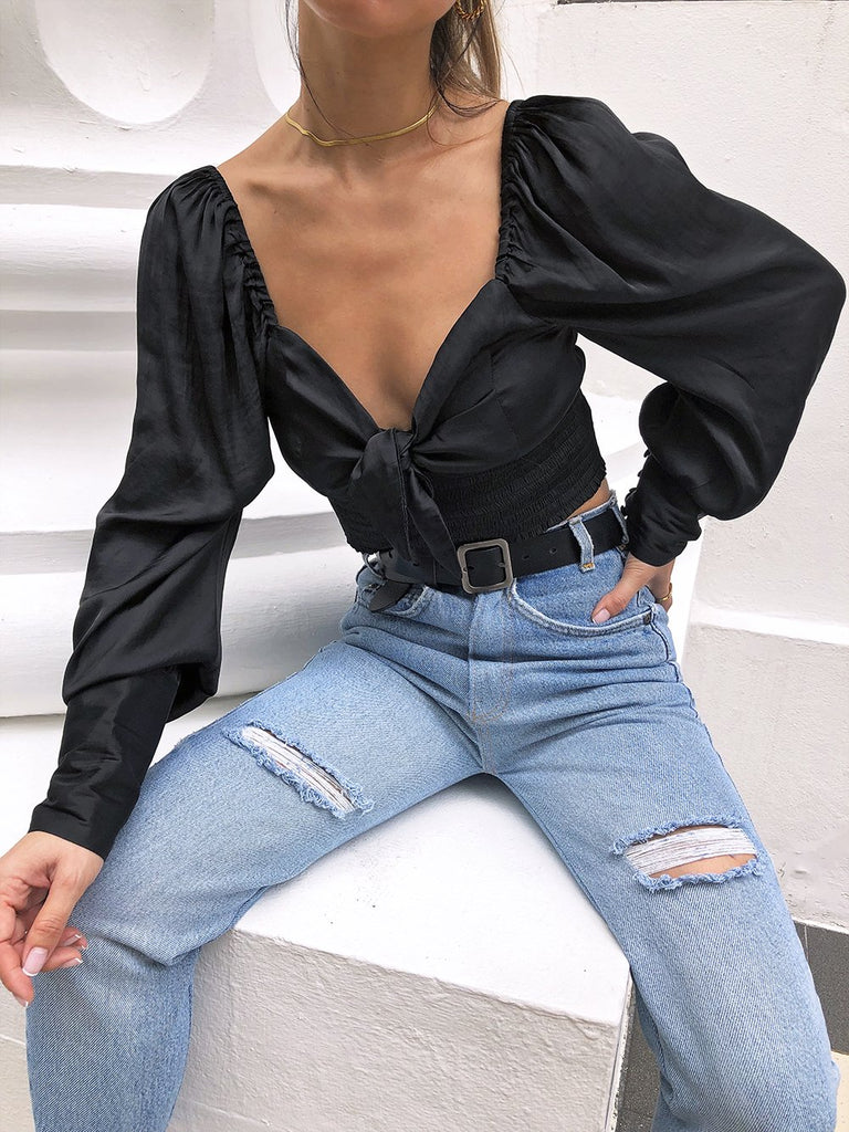 What To Do Next Buttoned Sleeve Crop Top in Black